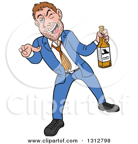 Cartoon Drunk White Businessman Holding a Bottle of Alcohol and Pointing Outwards Posters, Art Prints