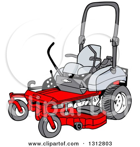 Riding Lawn Mower Illustration Cartoon Red Riding Lawn Mower