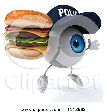 Clipart of a 3d Blue Police Eyeball Character Facing Slightly Right, Jumping and Double Cheeseburger - Royalty Free Illustration by Julos
