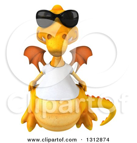 Clipart of a 3d Casual Yellow Dragon Wearing a T Shirt and Sunglasses - Royalty Free Illustration by Julos
