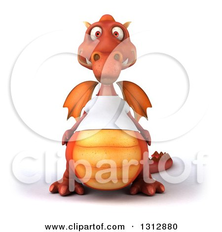 Clipart of a 3d Casual Red Dragon Wearing a T Shirt - Royalty Free Illustration by Julos