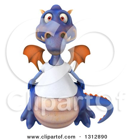 Clipart of a 3d Casual Purple Dragon Wearing a T Shirt - Royalty Free Illustration by Julos