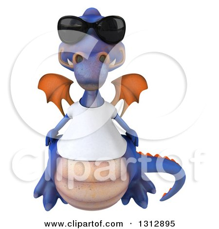 Clipart of a 3d Casual Purple Dragon Wearing a T Shirt and Sunglasses - Royalty Free Illustration by Julos