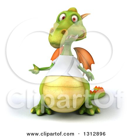 Clipart of a 3d Casual Green Dragon Wearing a T Shirt, Presenting to the Left - Royalty Free Illustration by Julos