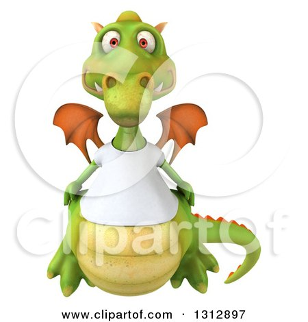 Clipart of a 3d Casual Green Dragon Wearing a T Shirt - Royalty Free Illustration by Julos