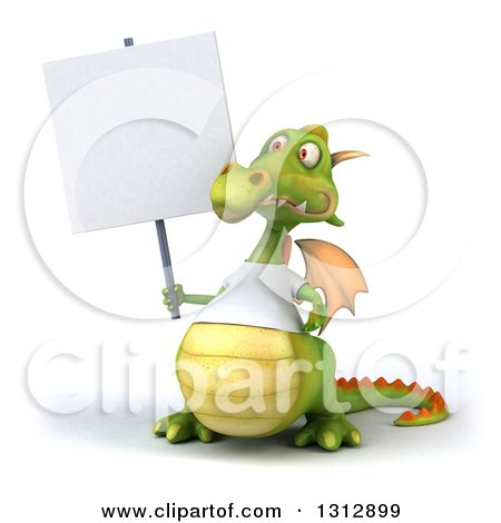 Clipart of a 3d Casual Green Dragon Wearing a T Shirt, Holding a Blank Sign - Royalty Free Illustration by Julos