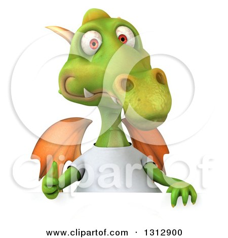 Clipart of a 3d Casual Green Dragon Wearing a T Shirt, Giving a Thumb up over a Sign - Royalty Free Illustration by Julos