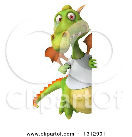 Clipart of a 3d Full Length Casual Green Dragon Wearing a T Shirt, Pointing Around a Sign - Royalty Free Illustration by Julos