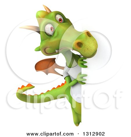 Clipart of a 3d Casual Green Dragon Wearing a T Shirt, Looking Around a Sign - Royalty Free Illustration by Julos