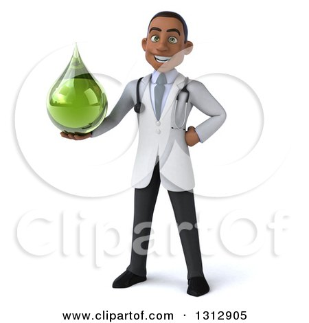 Clipart of a 3d Young Black Male Naturopathic Doctor Holding a Green Medicine or Tincture Drop - Royalty Free Illustration by Julos