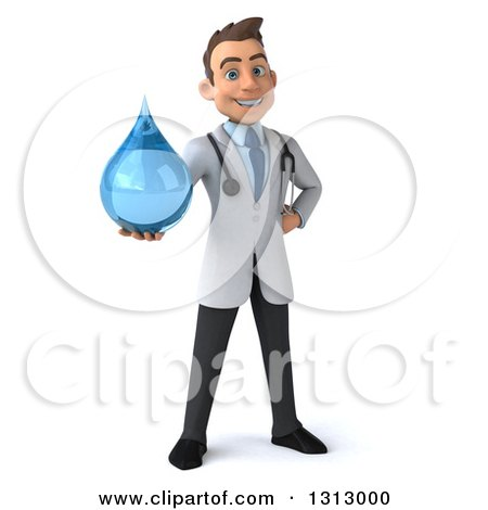 Clipart of a 3d Young Brunette White Male Doctor Holding out a Water Droplet - Royalty Free Illustration by Julos