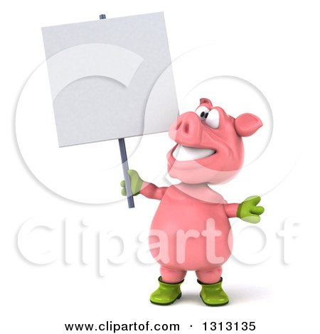 Clipart of a 3d Happy Gardener Pig Holding and Looking up at a Blank Sign - Royalty Free Illustration by Julos