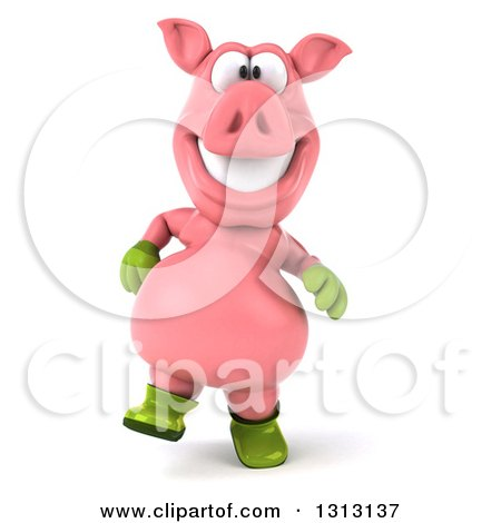 Clipart of a 3d Happy Gardener Pig Walking - Royalty Free Illustration by Julos