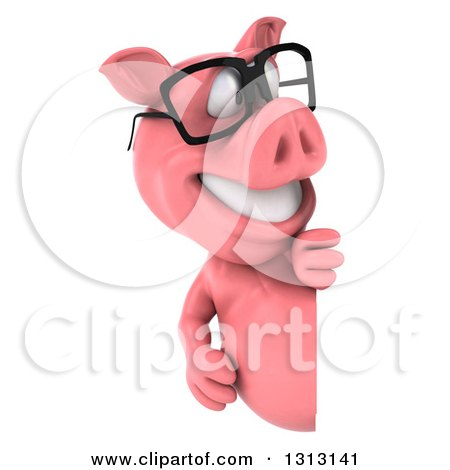 Clipart of a 3d Happy Bespectacled Pig Looking Around a Sign - Royalty Free Illustration by Julos