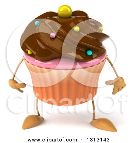 Clipart of a 3d Chocolate Frosted Cupcake Character - Royalty Free Illustration by Julos