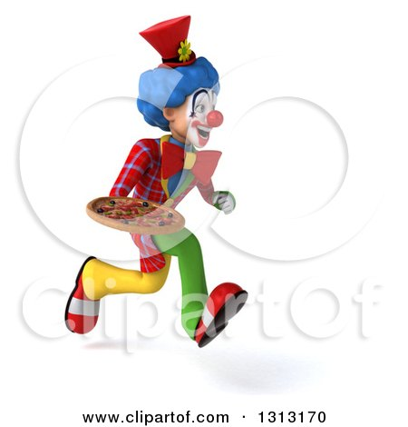 Clipart of a 3d Colorful Clown Sprinting to the Right and Holding a Pizza - Royalty Free Illustration by Julos