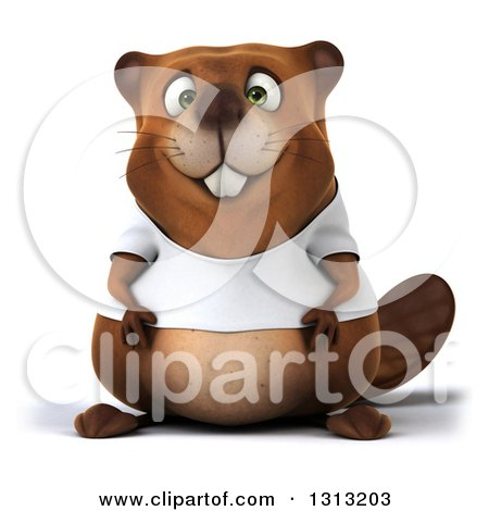 Clipart of a 3d Happy Casual Beaver Wearing a T Shirt - Royalty Free Illustration by Julos