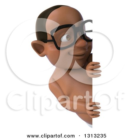 Clipart of a 3d Bespectacled Black Baby Boy Looking Around a Sign - Royalty Free Illustration by Julos