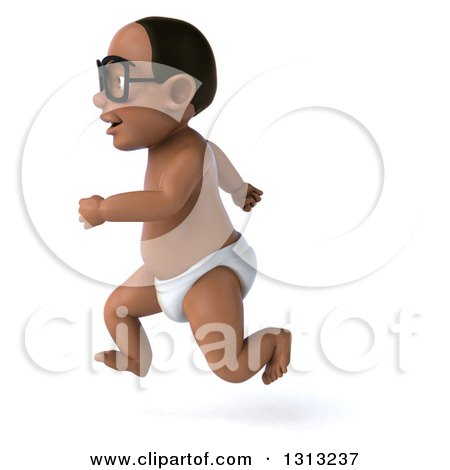 Clipart of a 3d Bespectacled Black Baby Boy Sprinting to the Left - Royalty Free Illustration by Julos