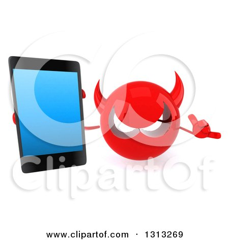 Clipart of a 3d Red Devil Head Holding up a Smart Cell Phone and Gesturing Call Me - Royalty Free Illustration by Julos