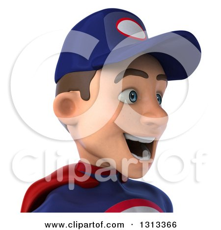Clipart of a 3d Avatar of a Young White Male Super Hero Mechanic in Red and Dark Blue, Facing Right - Royalty Free Illustration by Julos
