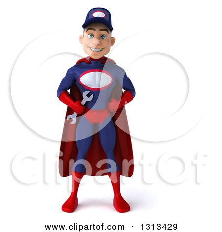 Clipart of a 3d Young White Male Super Hero Mechanic in Red and Dark Blue, Standing with Hands on His Hips - Royalty Free Illustration by Julos