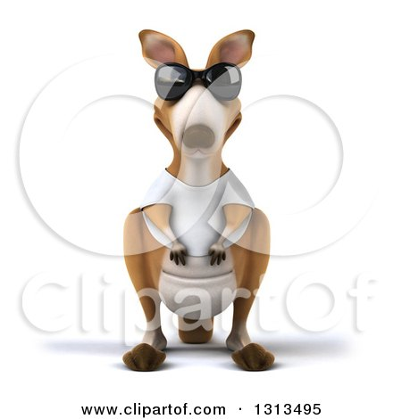 Clipart of a 3d Kangaroo Wearing Sunglasses and a White Tee Shirt - Royalty Free Illustration by Julos