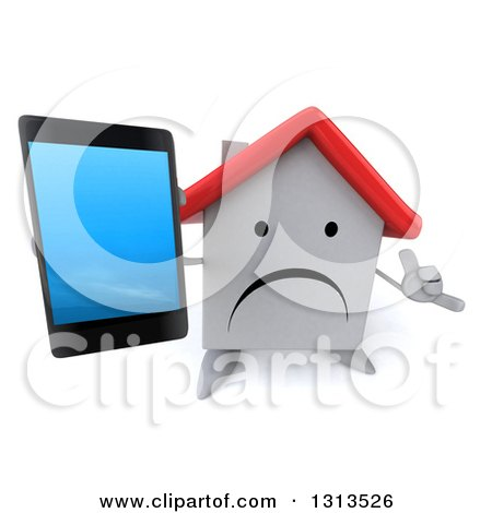 Clipart of a 3d Unhappy White House Character Holding up a Smart Phone and Gesturing Call Me - Royalty Free Illustration by Julos
