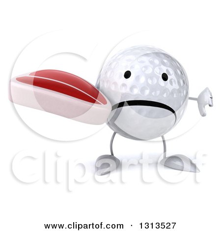 Clipart of a 3d Unhappy Golf Ball Character Holding a Thumb down and a Beef Steak - Royalty Free Illustration by Julos