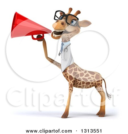 Clipart of a 3d Bespectacled Doctor or Veterinarian Giraffe Announcing to the Left with a Megaphone 2 - Royalty Free Illustration by Julos