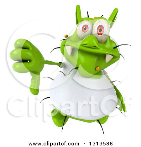 Clipart of a 3d Green Germ Virus Wearing a White T Shirt, Holding up a Thumb down - Royalty Free Illustration by Julos