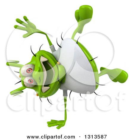 Clipart of a 3d Green Germ Virus Wearing a White T Shirt, Cartwheeling - Royalty Free Illustration by Julos