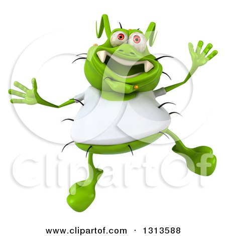 Clipart of a 3d Green Germ Virus Wearing a White T Shirt, Jumping - Royalty Free Illustration by Julos