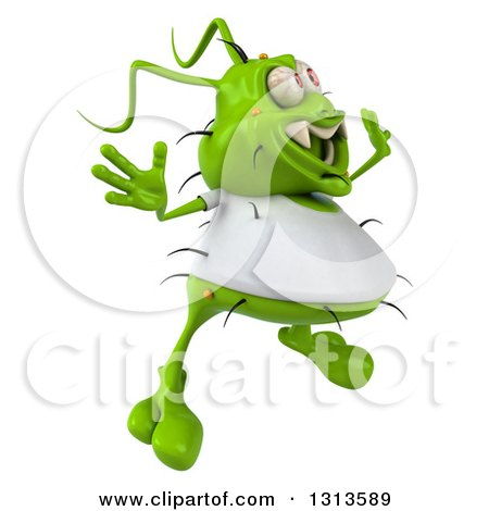 Clipart of a 3d Green Germ Virus Wearing a White T Shirt, Facing Right and Jumping - Royalty Free Illustration by Julos