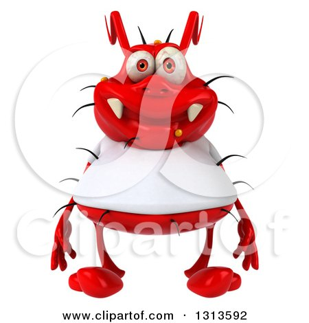 Clipart Of A 3d Red Germ Virus Wearing A White T Shirt Royalty Free Illustration