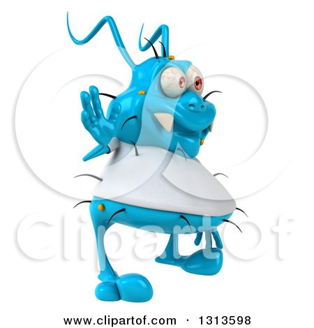 Clipart of a 3d Blue Germ Virus Wearing a White T Shirt, Facing Right and Waving - Royalty Free Illustration by Julos