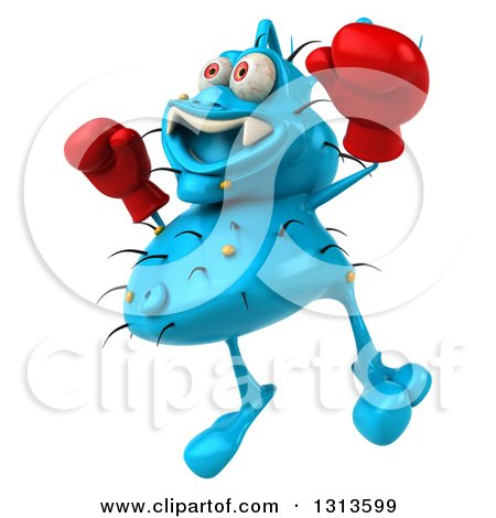 Clipart of a 3d Blue Germ Virus Facing Slightly Left, Wearing Boxing Gloves and Jumping 2 - Royalty Free Illustration by Julos