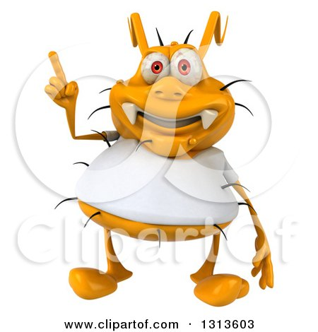 Clipart of a 3d Yellow Germ Wearing a White Tee Shirt, Holding up a Finger - Royalty Free Illustration by Julos