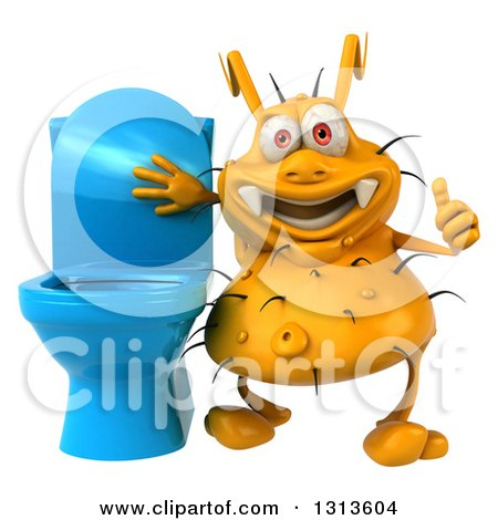 Clipart of a 3d Yellow Germ Virus Holding a Thumb up by a Toilet - Royalty Free Illustration by Julos