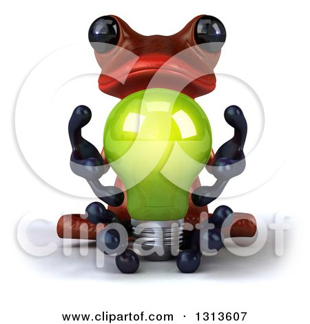 Clipart of a 3d Red Springer Frog Meditating and Holding a Green Light Bulb - Royalty Free Illustration by Julos