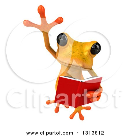 Clipart of a 3d Yellow Springer Frog Leaping and Reading a Book - Royalty Free Illustration by Julos