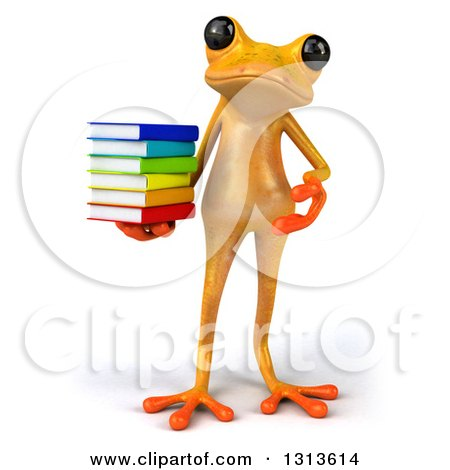 Clipart of a 3d Yellow Springer Holding and Presenting a Stack of Books - Royalty Free Illustration by Julos