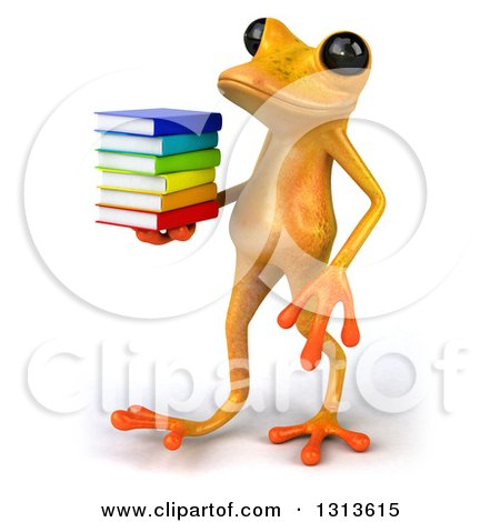 Clipart of a 3d Yellow Springer Frog Walking to the Left and Holding a Stack of Books - Royalty Free Illustration by Julos