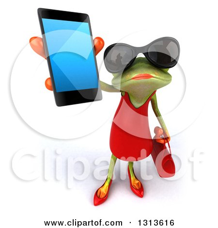Clipart of a 3d Green Female Springer Frog Wearing Sunglasses and Holding up a Smart Cell Phone - Royalty Free Illustration by Julos
