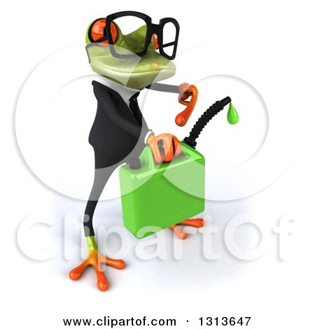 Clipart of a 3d Bespectacled Green Business Springer Frog Facing Right, Holding and Pointing to a Can of Dripping Biofuel - Royalty Free Illustration by Julos
