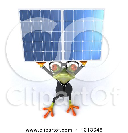 Clipart of a 3d Bespectacled Green Business Springer Frog Holding up a Solar Panel - Royalty Free Illustration by Julos