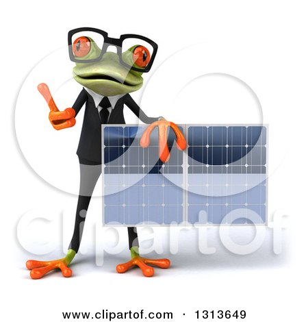 Clipart of a 3d Bespectacled Green Business Springer Frog Giving a Thumb up and Holding a Solar Panel - Royalty Free Illustration by Julos