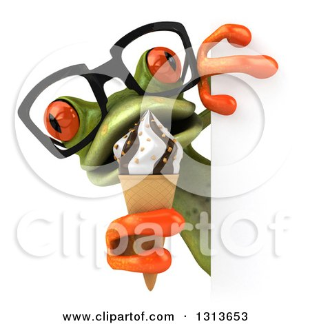 Clipart of a 3d Bespectacled Green Springer Frog Holding a Waffle Ice Cream Cone Around a Sign - Royalty Free Illustration by Julos