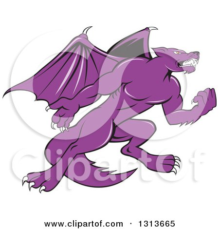 Clipart of a Cartoon Purple Angry Kludde Wolf Dog with Bat Wings - Royalty Free Vector Illustration by patrimonio