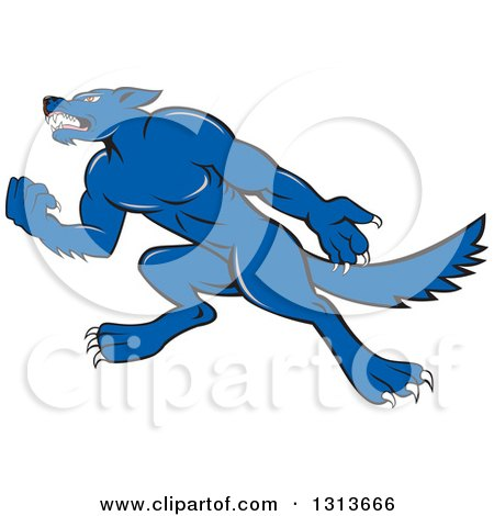 Clipart of a Cartoon Tough Blue Wolf Dog Holding up a Fist and Facing Left - Royalty Free Vector Illustration by patrimonio